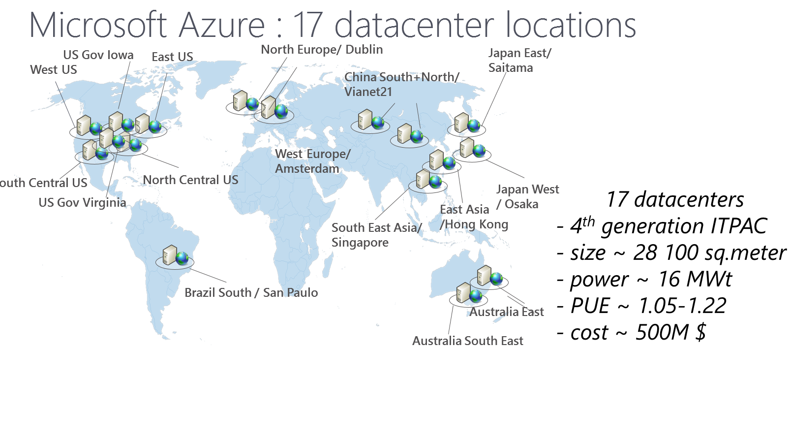 Microsoft Azure datacenter locations and CDN locations map