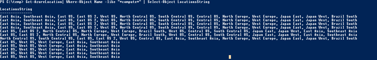Get-AzureLocation print compute only resources